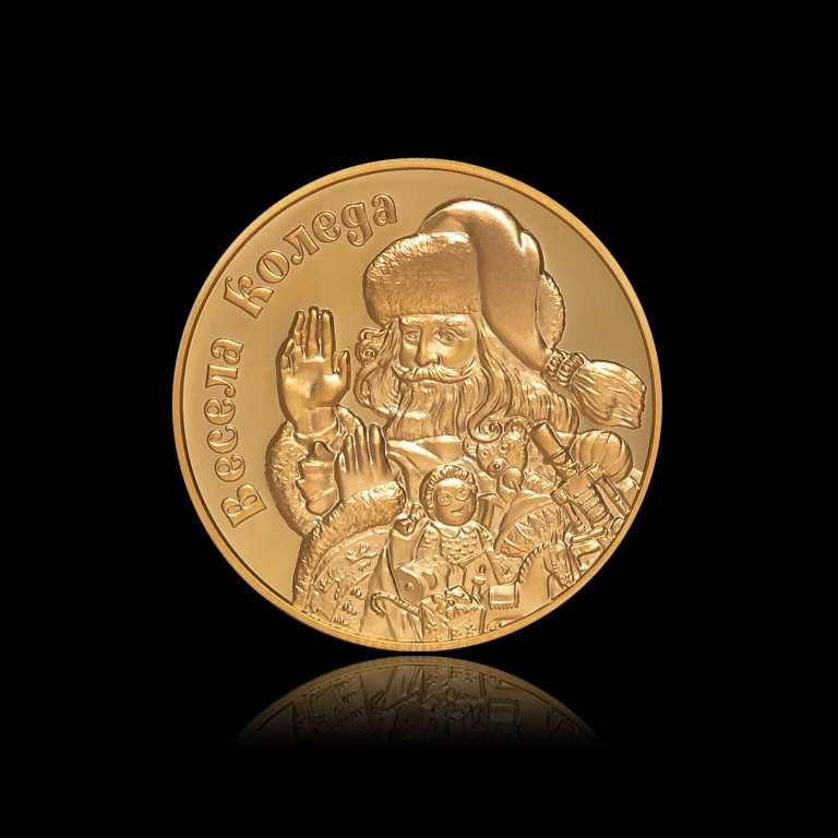 Santa Claus Christmas Medal with Solid Gold Plating, 26 g